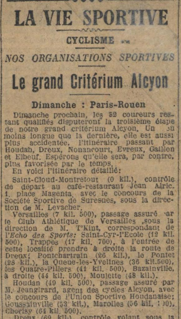 Jeangirard, agent des cycles Alcyon in Le Journal du 29 avril 1926.