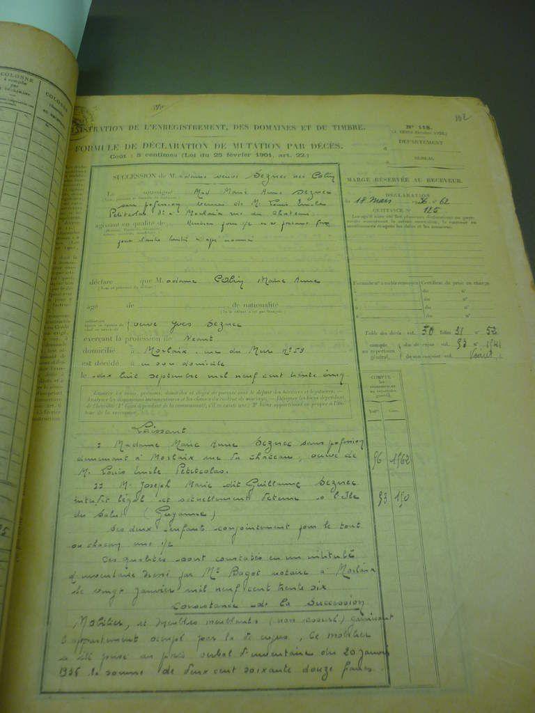 Succession Colin/Seznec en 1935 in archives départementales du Finistère.
