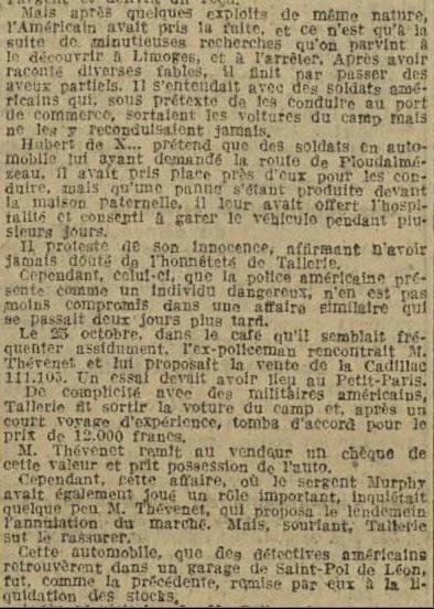 Le prix de la Cadillac vendue par Tallerie (DPB 17.3.1920)