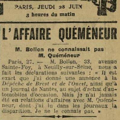 in La Dépêche de Brest du 28 juin 1923.