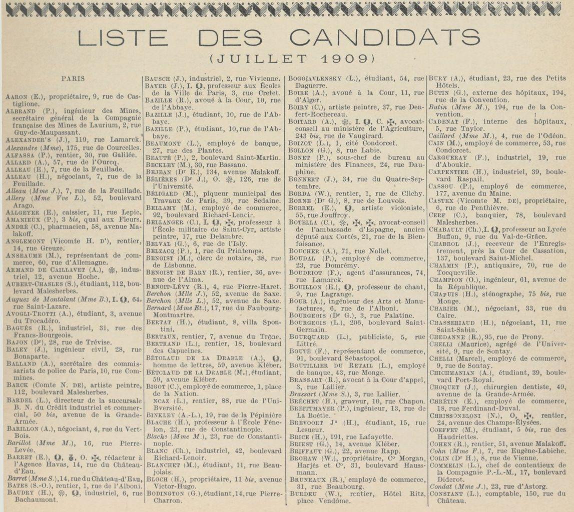 Touring Club de France. Août 1909.
