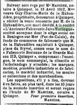in Progrès du Finistère du 21 avril 1917.