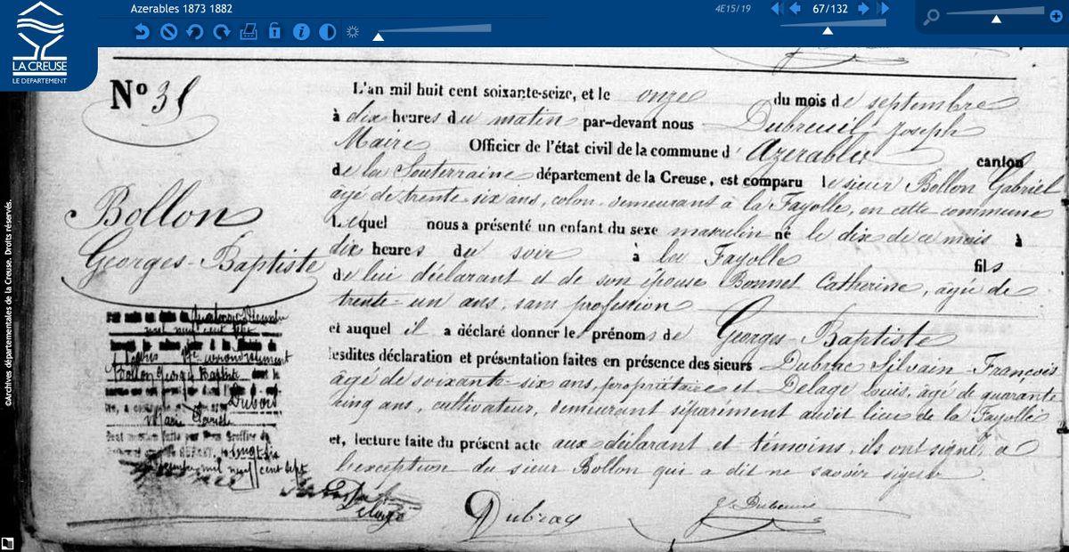 Naissance Georges Bollon le 10 septembre 1876.