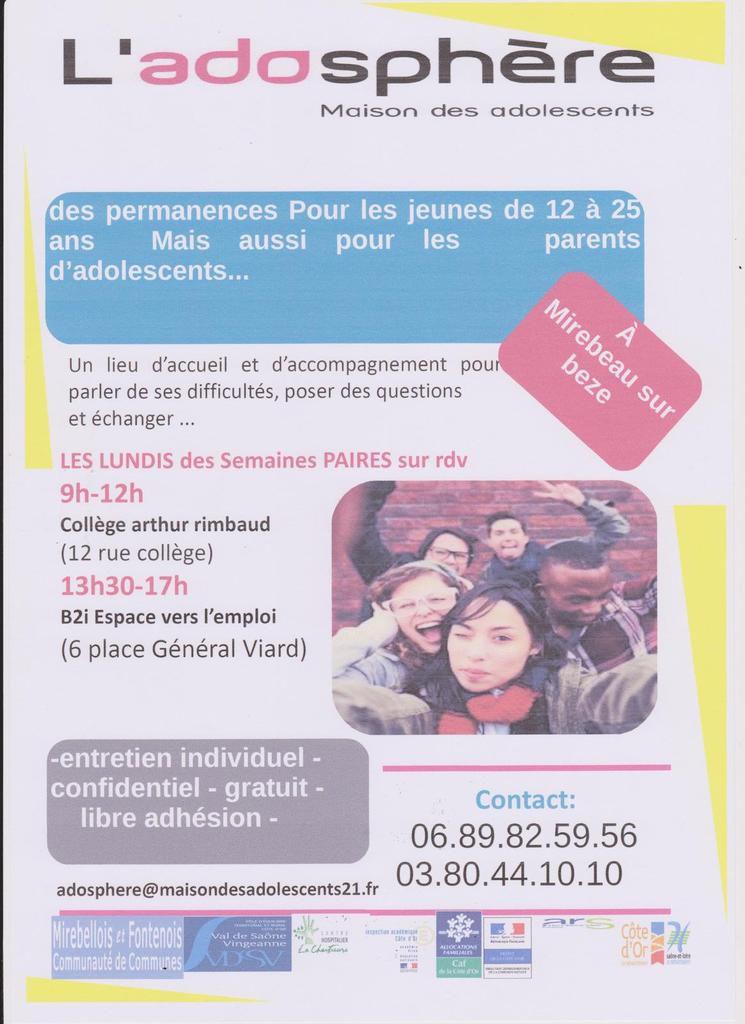 Permanence de l'Adosphère pour les jeunes de 12/25 ans et parents d'ados au collège de Mirebeau et B2i
