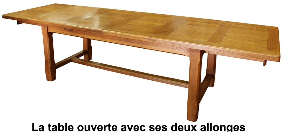 Tables de ferme en ch ne massif fabricant de tables - Table en chene massif avec rallonges ...