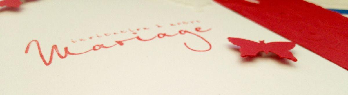 Faire-parts de Mariage thème Papillons et couleurs rouge & blanc...