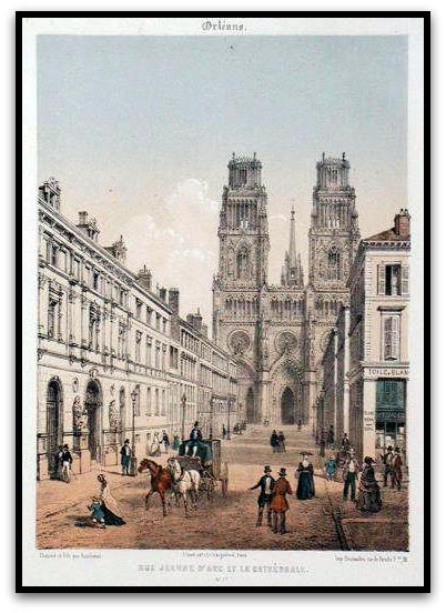 Joan of Arc st. and Notre-Dame Ste Croix, Print Leon Auguste Asselineau nineteenth century