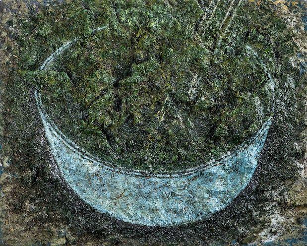 Salade aux algues, 2016 huile et laque sur toile 24 x 30 cm