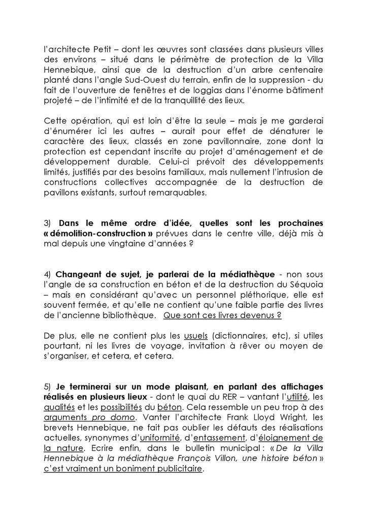 Chers Habitants, voici le texte de notre intervention à propos de la qualité et du cadre de vie à Bourg-la-Reine