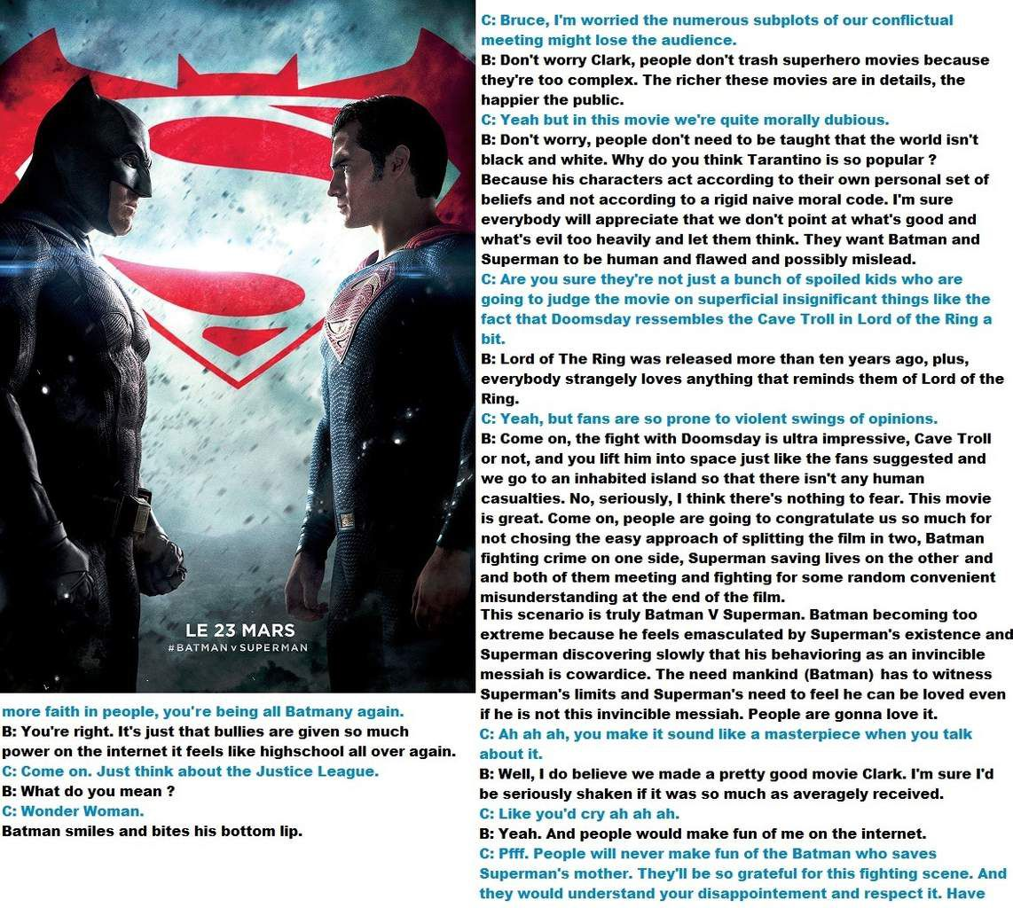 Something about Batman V Superman :  it's very great, have you critics and people gone totally crazy ?