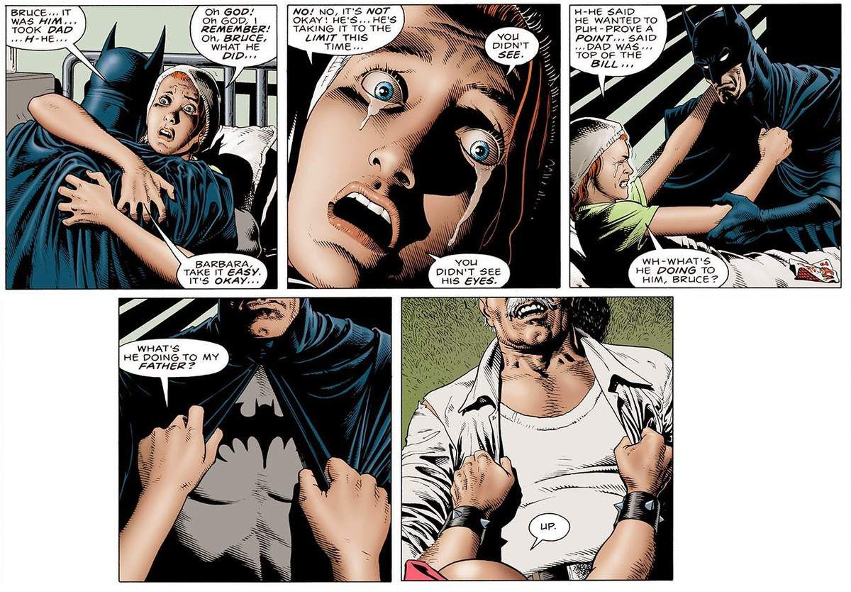 1- Ok, so she's just taken a bullet in the spine and she sits up to hug Batman. I'm sure she's gonna recover quickly.  2- And she cries, and she is scared and gniagniagnia. Is she Batgirl or what ? 3- Thank god they removed that link between the two scenes in the animated film.