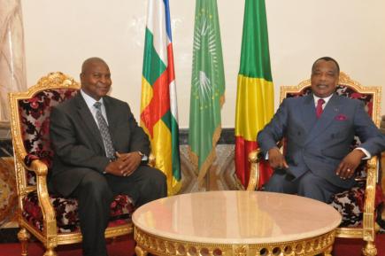 CONGO/CENTRAFRIQUE: LE PRESIDENT TOUADERA EN VISITE DE TRAVAIL A BRAZZAVILLE