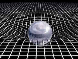 Une boule déformant par son poids une sorte de filet à mailles carrées.