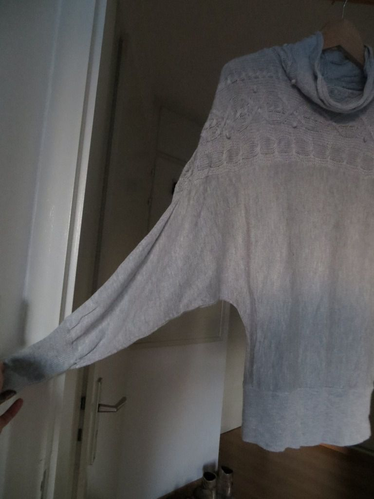 Pull fin gris ONLY manches chauve-souris, taille 1