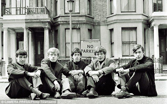 The Rolling Stones pictured outside the Edith Grove flat shared by Jagger, Richards and Brian Jones, which is recreated in Exhibitionism
