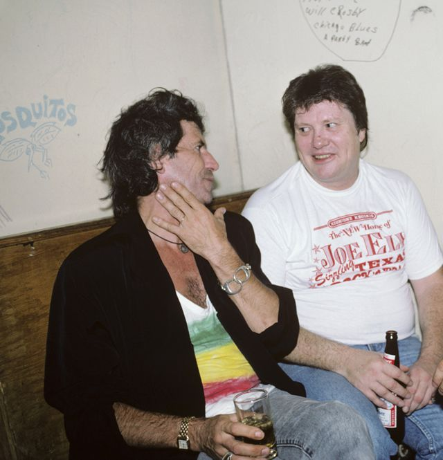 Keith Richards and Bobby Keys backstage at the Lone Star Cafe on July 14th, 1987 in New York City