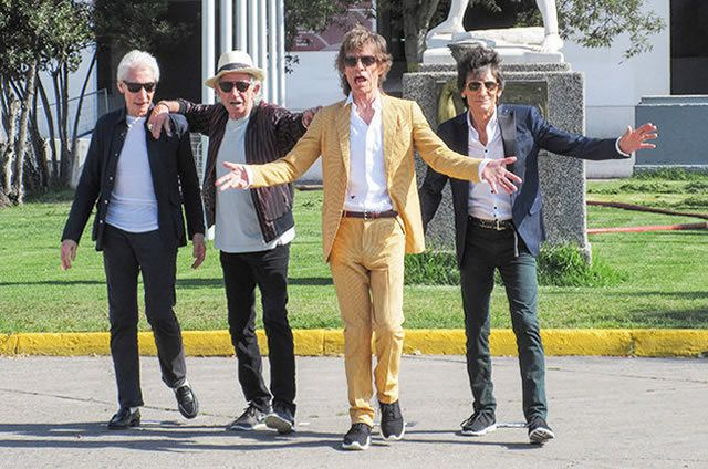 The Rolling Stones greet fans in Chile on Feb. 1, 2016 as they arrive at the National Stadium in Santiago.
