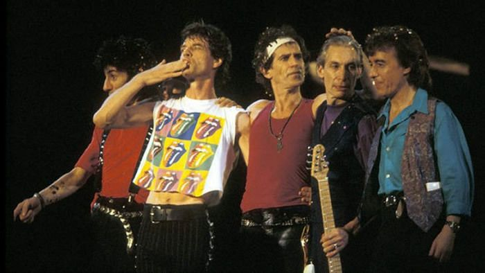 The Rolling Stones with Bill Wyman (right).