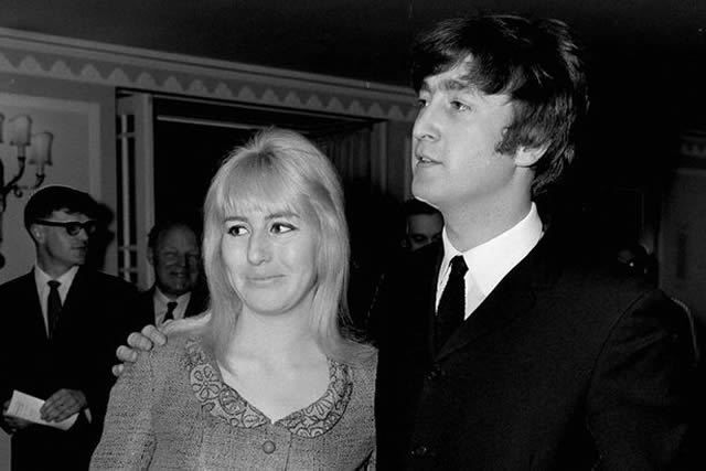 John Lennon with his wife Cynthia at Foyles Literary Lunch in 1964