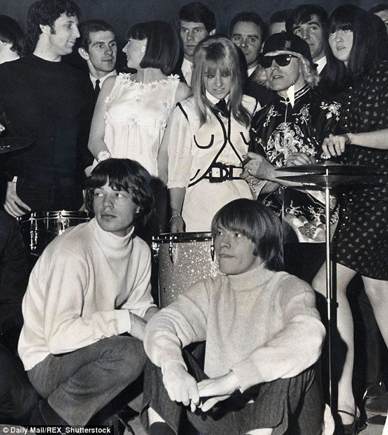 The singer dated Brian Jones from the Rolling Stones and turned down his bandmate Mick Jagger (pictured together front)