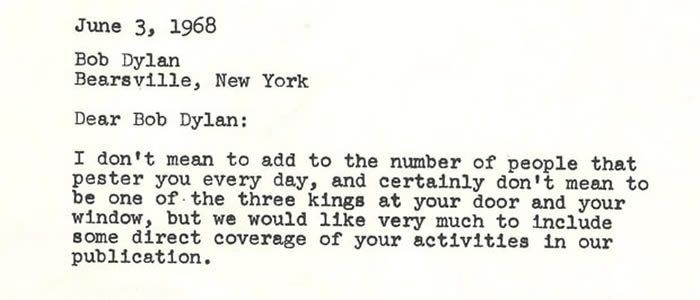 Wenner's 1968 letter to Dylan requesting an interview.