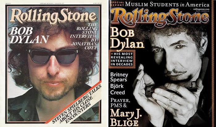Bob Dylan on the cover of Rolling Stone in 1978 (left), shot by Liebovitz, and November 2001 (right).