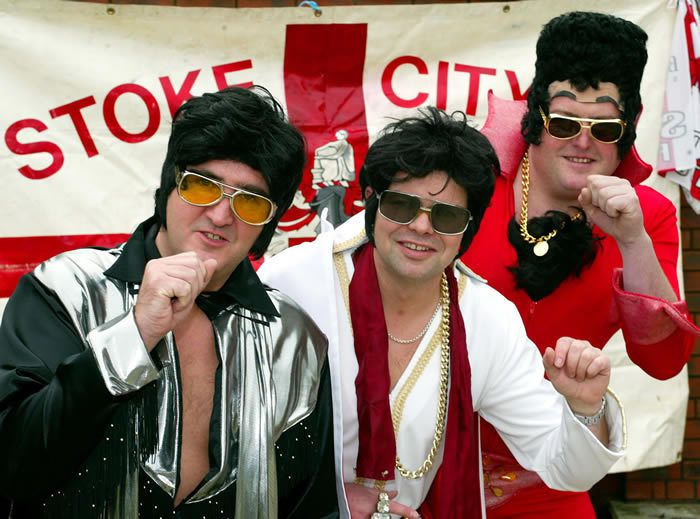 Mike Furnival (left) and friends Tim Fear and Conrad Clews, who joined over one hundred Elvis lookalikes at a Stoke City game. Photograph: Don McPhee for the Guardian