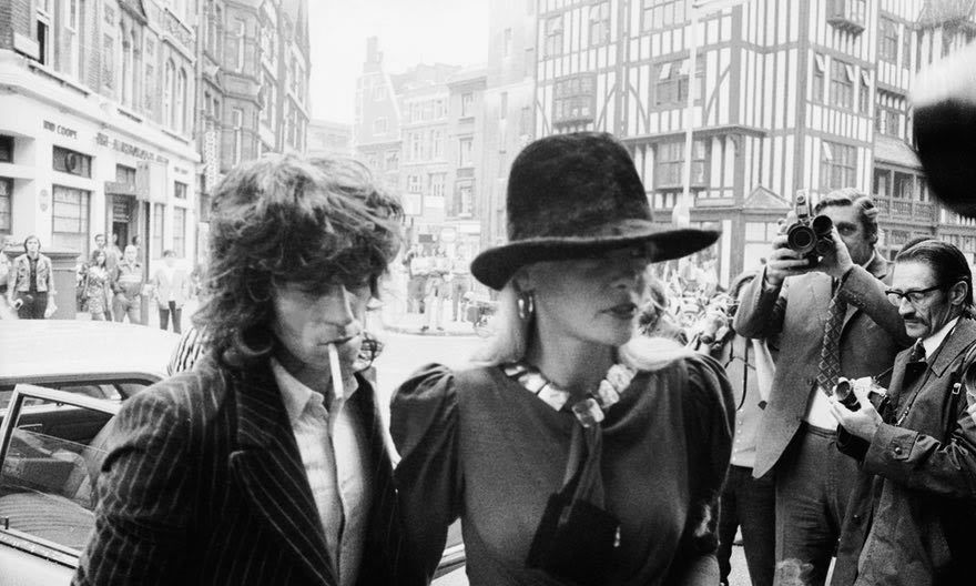 Keith Richards and Anita Pallenberg arriving at court in London on drugs charges in 1973. Photograph: Frank Barratt/Getty Images