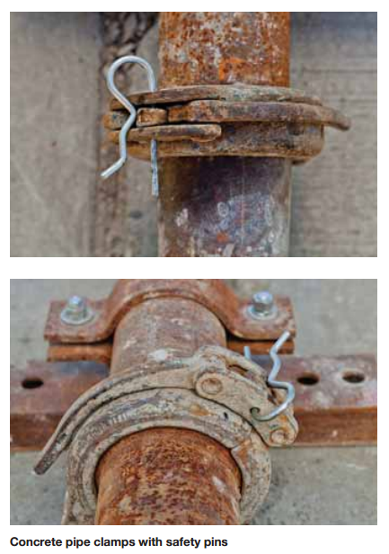 Concrete pump pipe clamps with safety pin czby