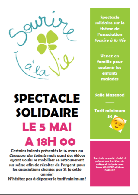SPECTACLE SOLIDAIRE LE 5 MAI
