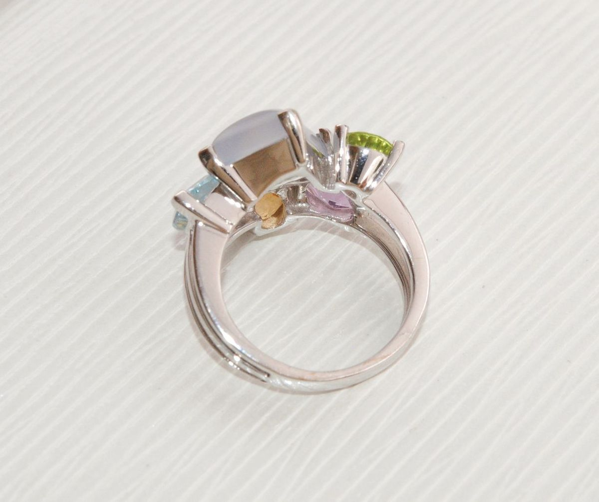 TRES BELLE BAGUE EN OR BLANC 18 K ( 750 ) - PIERRES FINES     REF / AB 873