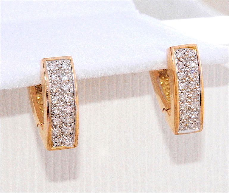 BELLES BOUCLES D'OREILLES OR 2 TONS 18 K ( 750 ) - DIAMANTS     REF / AB 879