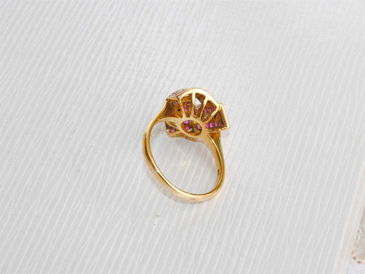 &quot&#x3B; RARE &quot&#x3B; TRES BELLE BAGUE BICOLORE 18 K ( 750 ) - RUBIS - DIAMANTS    REF / AA 924