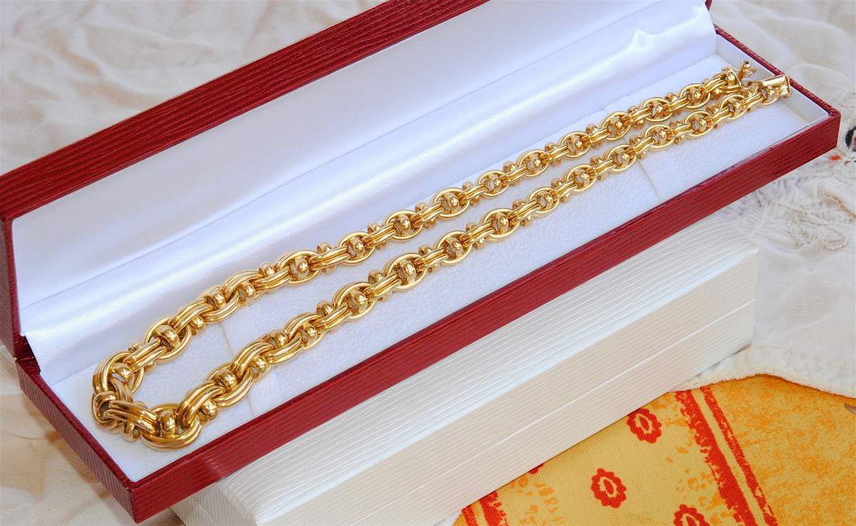 MAGNIFIQUE COLLIER CAPLAIN PARIS - OR JAUNE 18 K ( 750 ) - 42,95 gr    REF / AB 911