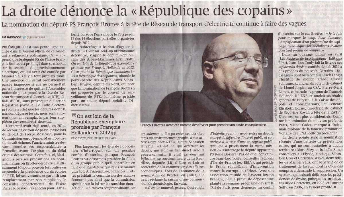20 minutes, France Info, le Canard Enchaîné 19 août : François Brottes à la tête de la RTE, une nomination sous haute tension
