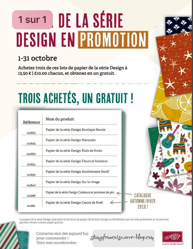 les 8 papiers en promotion Stampin Up