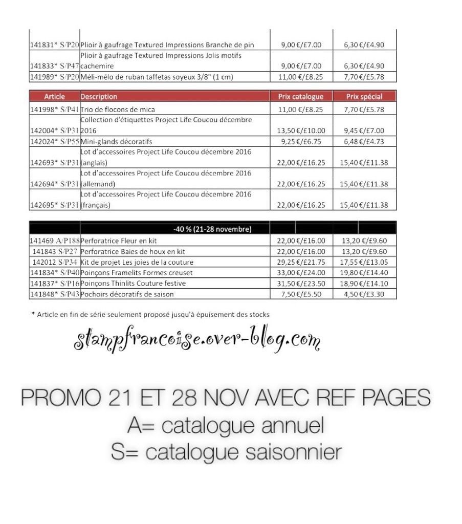 Stampin'up PROMOTIONS Catalogue Automne Hiver lundi  21 novembre au 28 novembre