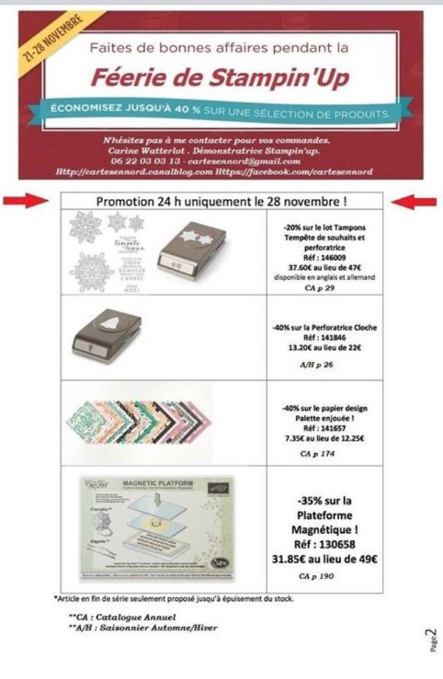 Stampin'up PROMOTIONS Catalogue Automne Hiver le  28 novembre