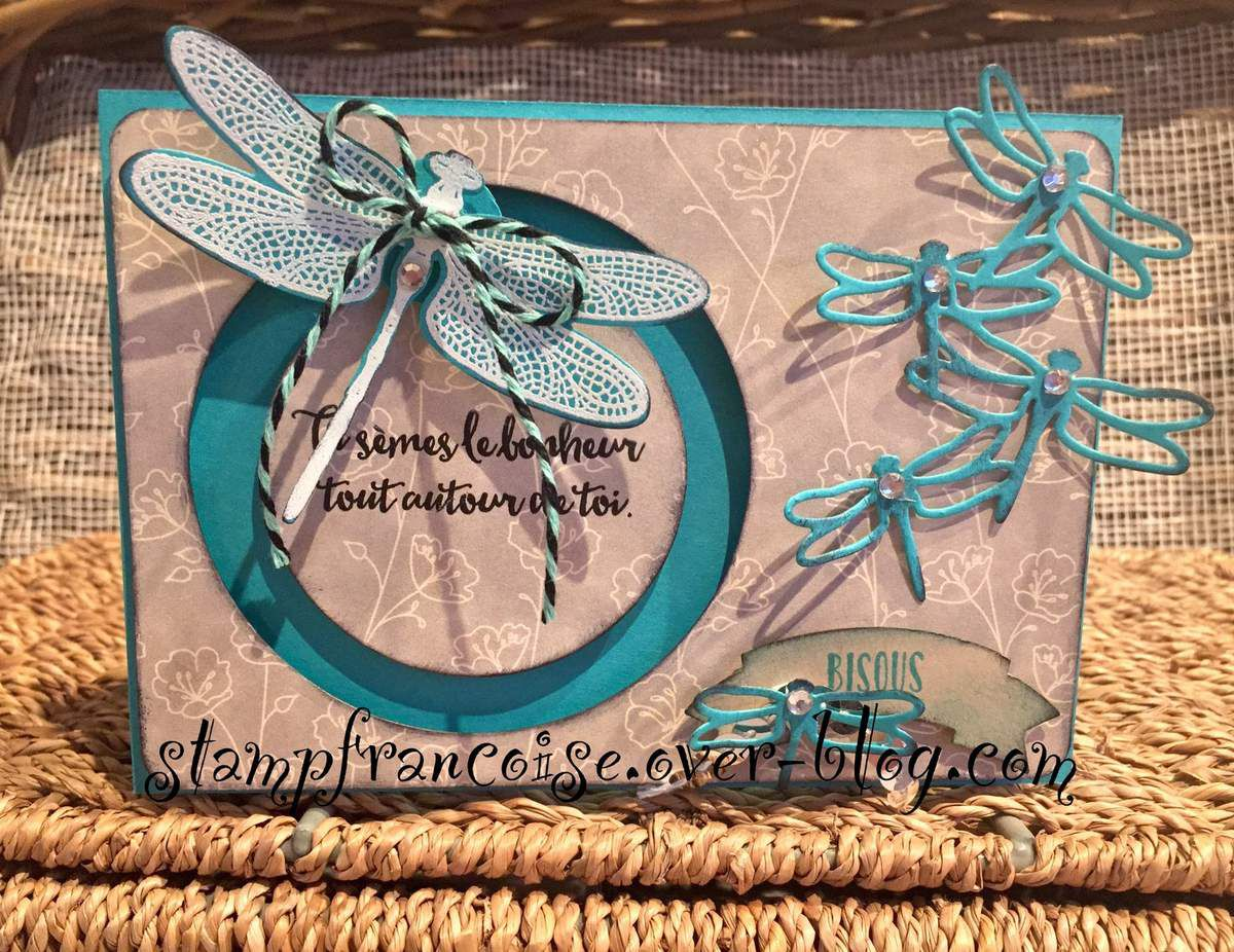Stampin Up   sliding star / carte coulissante Songes de libellule / Dragonfly Dreams