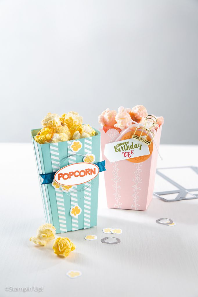 gratuit STAMPIN UP  Boite à Pop-Corn /Popcorn Box Thinlits Dies