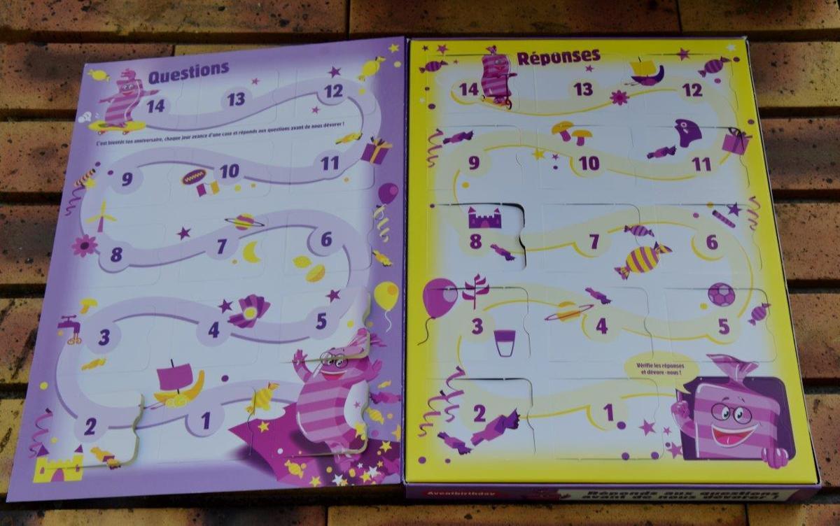 L'intérieur du calendrier AventBirthday
