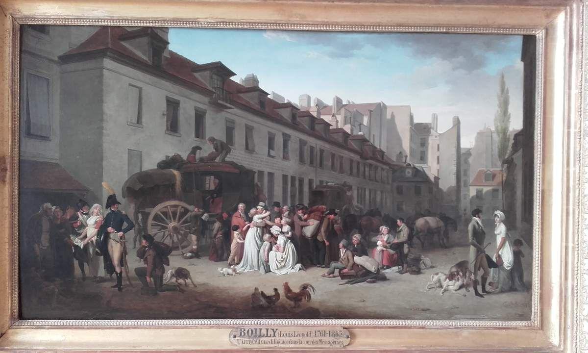 Louis Léopold Boilly (1761-1845) : L'arrivée d'une diligence dans la cour des messageries, rue Notre Dame des Victoires à Paris (1803) Huile sur bois