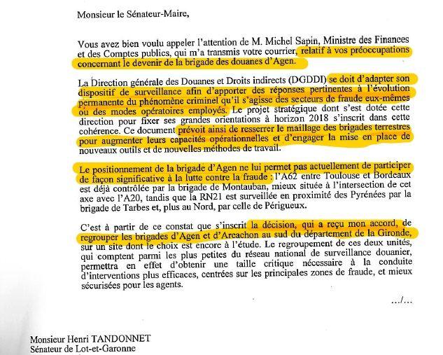 Réponse de Monsieur le secrétaire d'état au Budget Christian ECKERT à Monsieur le sénateur  Henri TANDONNET