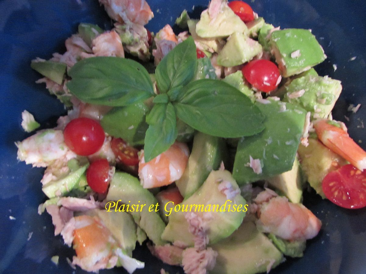 Salade crevette avocat thon plaisir et gourmandises for Entree vite faite simple