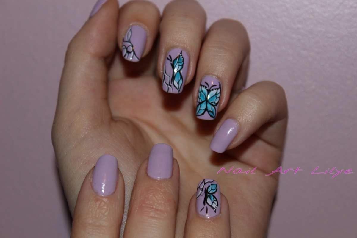 Nail art Papillons - Printemps