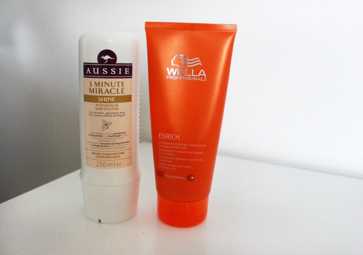 Soin intensif Aussie 3 minutes miracle shine (9 €) // Après shampoing Wella ENRICH (10 €)