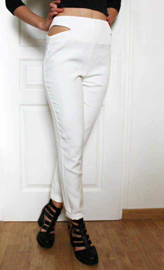Pantalon cigarette blanc découpes à la taille - 35,00€