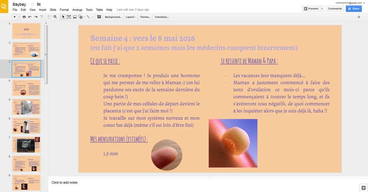 L'interface de Google Slides (je crois l'avoir vue apparaître en français quand je me suis déconnectée de mon compte)