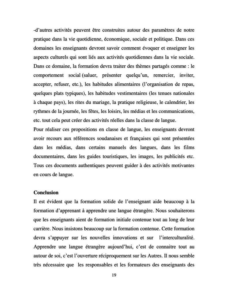 Publication d'un article sur la formation initiale et continue de M. Eissa Elbadawi Elhai