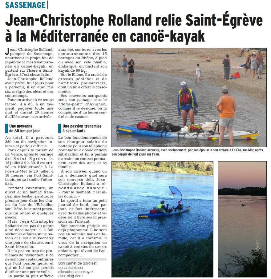 Article du Dauphiné Libérée du 09 septembre 2016 page 16